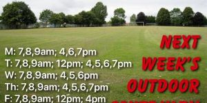 OUTDOOR WORKOUTS- SCHEDULE for WEEK ENDING 8/2/20